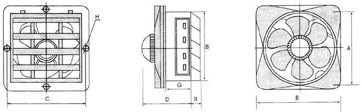 玻璃钢排气扇外形及安装
